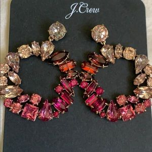 J.Crew MIXED CRYSTAL CIRCLE STATEMENT EARRINGS!